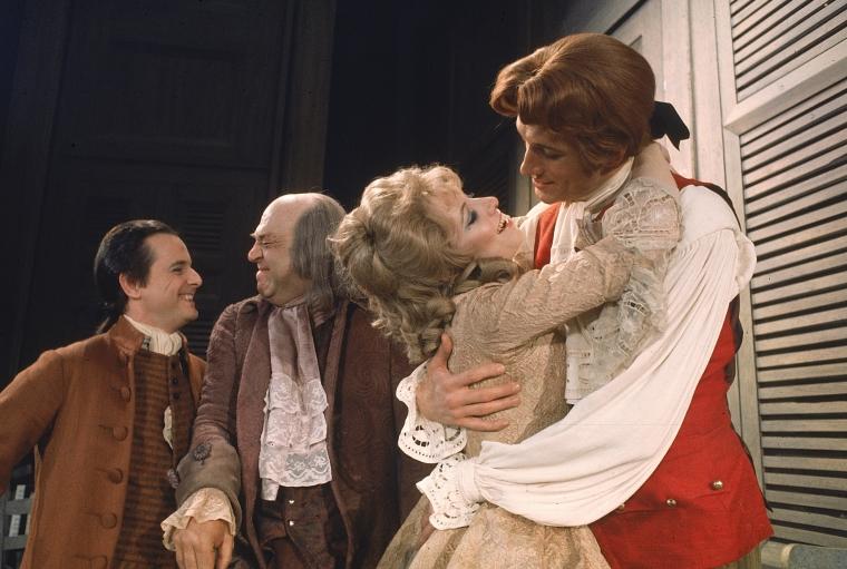 "Actors (L-R) William Daniels as future president John Adams, Howard Da Silva as Benjamin Franklin, Betty Buckley as Martha Jefferson and Ken Howard as future President Thomas Jefferson in ""1776"""