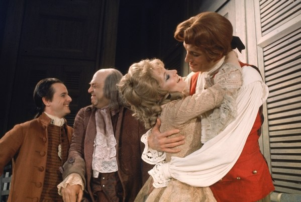 "Actors (L-R) William Daniels as future president John Adams, Howard Da Silva as Benjamin Franklin, Betty Buckley as Martha Jefferson and Ken Howard as future President Thomas Jefferson in ""1776"""