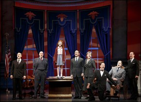 In the 2012 revival of Annie, Merwin Foard (second from left) portrayed F.D.R. Foard had previously portrayed President James Garfield in Sondheim's Assassins. Presidents are frequently peripheral characters. Theodore Roosevelt has a cameo in Newsies