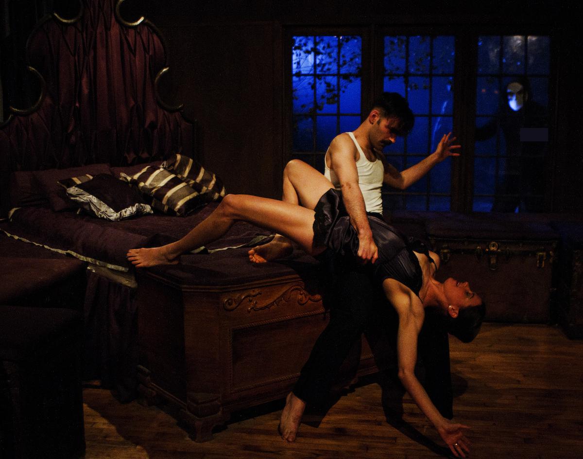 Nicholas Bruder as Macbeth and Sophie Bortolussi as Lady Macbeth with audience member