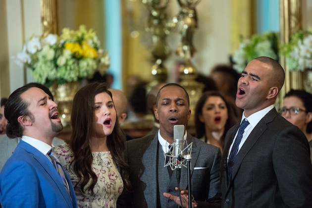 "Cast members Lin-Manuel Miranda, Philipa Soo, Leslie Odom Jr, and Christopher Jackson perform musical selections from the Broadway musical ""Hamilton"" in the East Room of the White House, March 14, 2016. (Official White House Photo by Amanda Lucidon)"