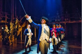 Christopher Jackson as George Washington (in foreground)