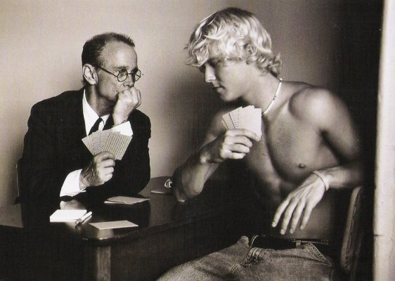 "Joel Grey posing with a male model in Duane Michel's book ""The Adventures of Constantine Cavafy, 2007"