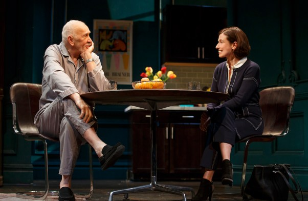 Frank Langella as Andre charming the new nurse, Laura, portrayed by Hannah Cabell