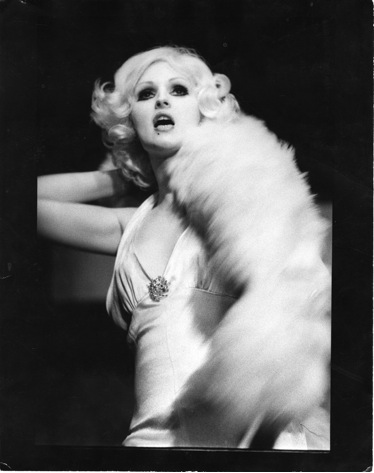 "Candy Darling performing the role of the White Whore in Tom Eyen's ""The White Whore and the Bit Player"" (La MaMa, 1973)."