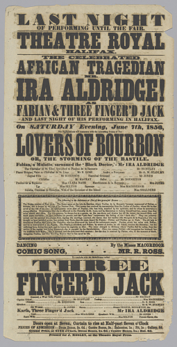 Poster in 1856 for Ira Aldridge, the first acclaimed African-American actor, in Othello.