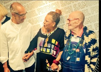 Playwright and director George C. Wolfe, playwright and poet Ntozake Shange, playwright and novelist Larry Kramer before the Identity Week panel.