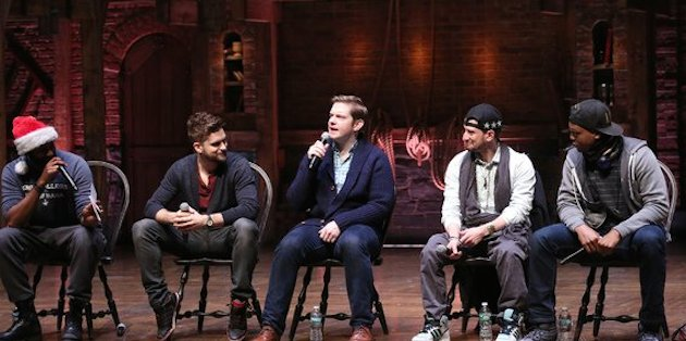 "Hamilton cast members (left to right) Nik Walker, Neil Haskell, Rory O'Malley, Roddy Kennedy, Quinton Johnson speak to 1,300 New York City public high school students before a matinee performance of ""Hamilton"""