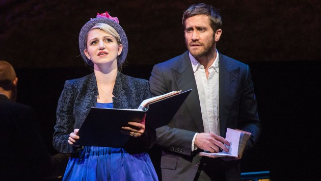 """A scene from """"Sunday in the Park with George"""" presented by New York City Center on October 24, 2016 with Music and Lyrics by Stephen Sondheim Book by James Lapine Starring Jake Gyllenhaal (George Seurat) and Annaleigh Ashford, Dot, his mistress Phylicia Rashad, an Old Lady Zachary Levi- Jules, another artist, tall thin Carmen Cusack, Wife of Jules, red dress Phillip Boykin, Boatman-in cap, grey uniform Brooks Ashmanskas, Mr.- American Gabriel Ebert, Claybourne Elder, Jordan Gelber, Lisa Howard, Liz McCartney, Ruthie Ann Miles, Solea Pfeiffer, Gabriella Pizzolo, and Lauren Worsham Credit: Stephanie Berger"""