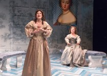 Ismenia Mendes (as Clarice) and Amelia Pedlow (as Lucrece)