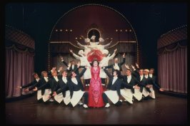 "Ethel Merman and waiters in a scene from the Broadway production of the musical ""Hello, Dolly!""."