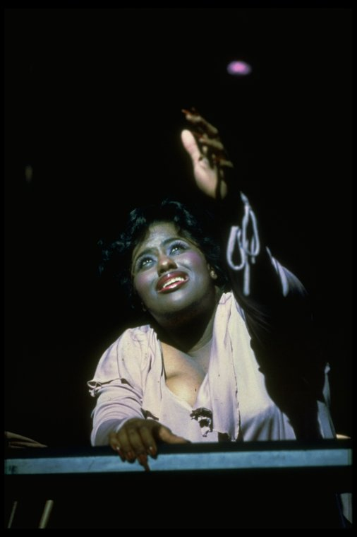 """Jennifer Holliday singing """"And I Am Telling You I'm Not Going"""" in a scene from the Broadway production of the musical """"Dreamgirls""""."""