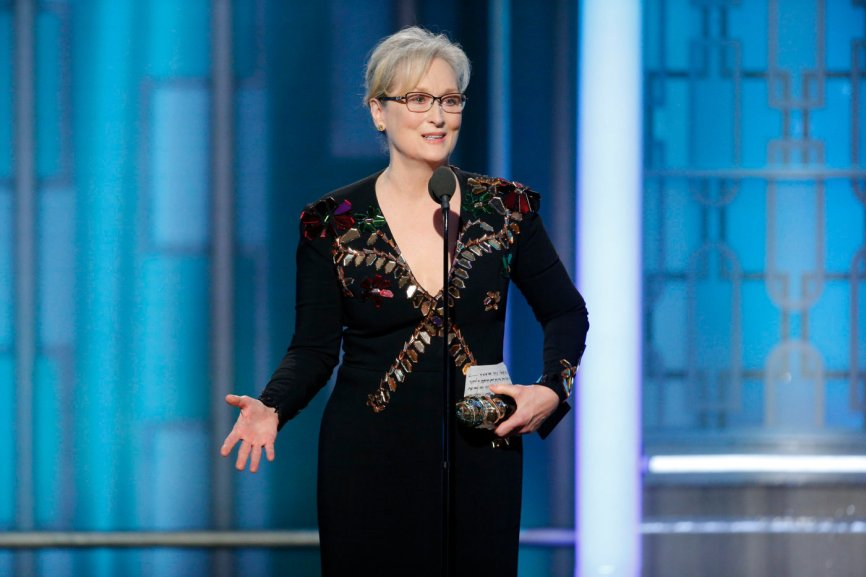 Meryl Streep's speech at the Golden Globes, January 8, 2017: nd this instinct to humiliate, when it's modeled by someone in the public platform, by someone powerful, it filters down into everybody's life, because it kinda gives permission for other people to do the same thing. Disrespect invites disrespect, violence incites violence. And when the powerful use their position to bully others we all lose.