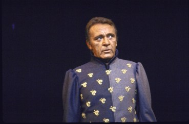 """Actor Richard Burton in a scene fr. the revival of the Broadway musical """"Camelot""""."""