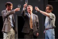 Richard Roxburgh (center) as Mikhail, who cuckolds and betrays his two best friends, Nikolai (Toby Schmitz, left) and Sergei (Chris Ryan, right)