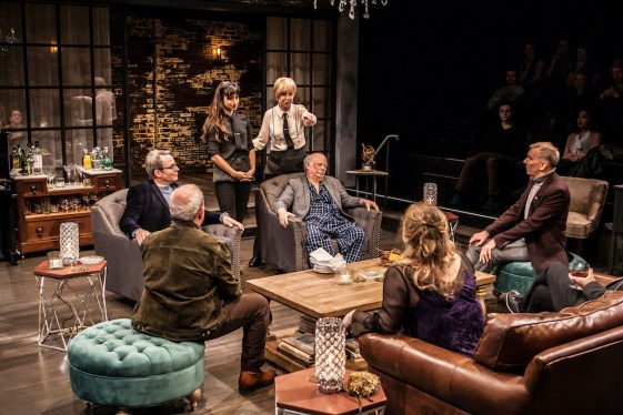 Clockwise: Matthew Broderick, Annapurna Sriram, Jill Eikenberry, Wallace Shawn, John Epperson, Claudia Shear, Michael Tucker at the original New York production in 2017