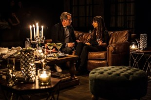 """Matthew Broderick & Annapurna Sriram in Wallace Shawn's """"Evening at the Talk House,"""" directed by Scott Elliott, Off-Broadway at The New Group. Through March 12 at The Pershing Square Signature Center."""