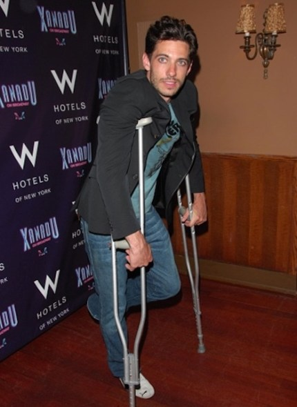 James Carpinello on crutches