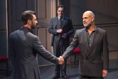 Oslo Broadway 1 Michael Aronov, Jefferson Mays, and Anthony Azizi