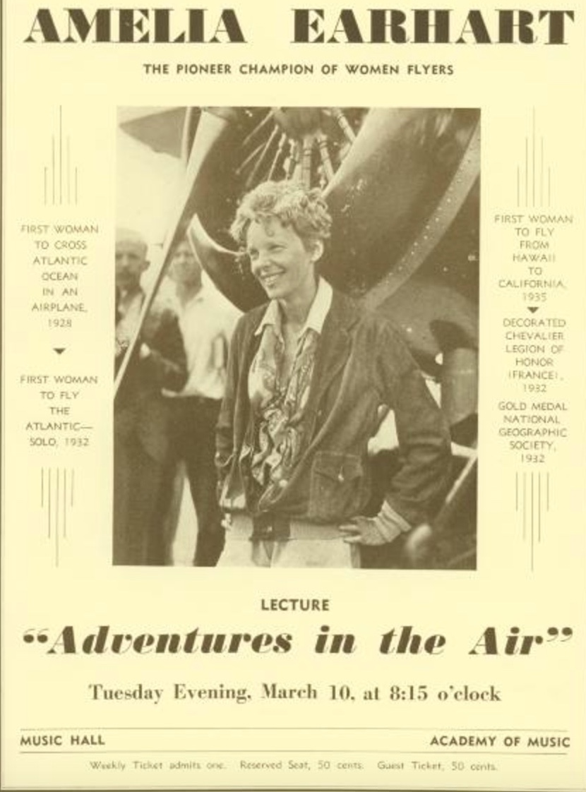 "Detail from Brooklyn Institute of Arts and Sciences Bulletin advertising the Amelia Earhart lecture ""Adventures in the Air"" during Spring Season, 1936"