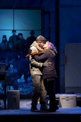 A 21st century musician kisses a 20th century explorer in Ernest Shackleton Loves Me, 2017