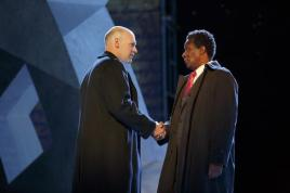 Corey Stoll as Brutus and John Douglas Thompson as Caius Cassius