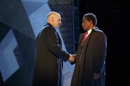 Corey Stoll as Brutus and John Douglas Thompson as Caius Cassius