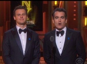 """Jonathan Groff and Brian d'Arcy James presented the """"craft awards,"""" most of which were not broadcast."""