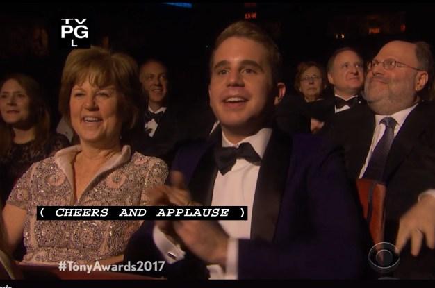 Ben Platt reacting to Kevin Spacey's spoof of his character in Dear Evan Hansen in the opening number