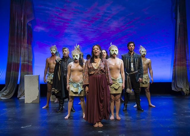 Temple of Souls 7 Danny Bolero as Don Severo, Lorraine Velez as Nana, Jacob Gutierrez as Nemesio, and the company of Temple of the Souls_ Photo by John Quilty