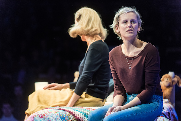 Denise Gough portrayed Emma, an alcoholic and drug addicted actress in People Places and Things as a complex woman of many moods. One moment brought this home in a theatrical way by her suddenly …replicating into maybe a dozen Emmas rushing around the stage. Opened October.