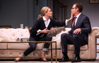 """The moment in Parisian Woman when Uma Thurman interrupts the man who's been complaining about her infidelity, having heard keys in the door. """"It's my husband""""' Opened in December."""