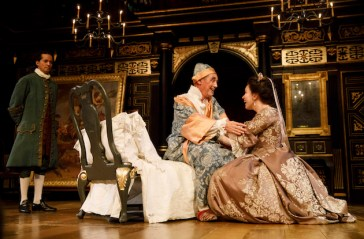 Huss Garbiya, Mark Rylance and Melody Grove in Farinelli and the King.