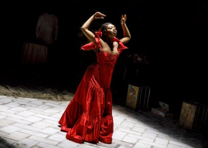 """The first moments of Hailey Kilgore's ecstatic dancing in the sand in """"Once On This Island."""" Opened in December"""