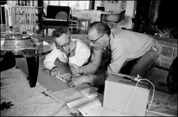 Elia Kazan and Arthur Miller making the first rough stage set for After the Fall], 1963, photographed by Inge Morath