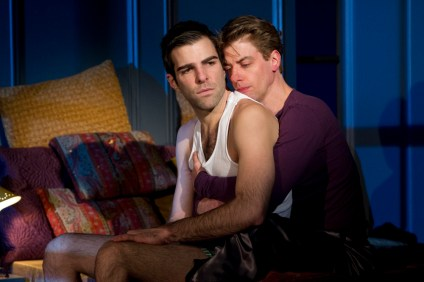 Zachary Quinto as Lous Ironson and Christian Borle as Prior Walter in Angels in America: A Gay Fantasia on National Themes by the Signature Theatre Company in 2010