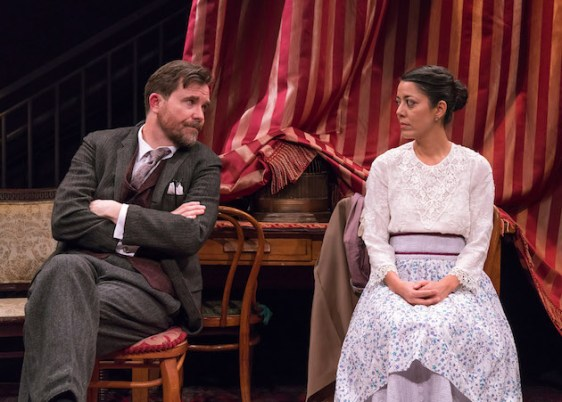 Eric Tucker as Henry Higgins and Vaishnavi Sharma as Eliza Doolittle in Bedlam's Pygmalion
