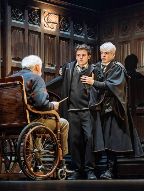 """Edward James Hyland, Sam Clemmett & Anthony Boyle in """"Harry Potter and the Cursed Child."""" Photo by Manuel Harlan"""