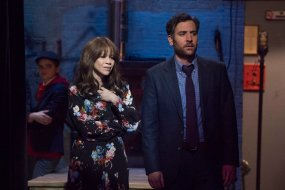 "RISE -- ""Opening Night"" Episode 110 -- Pictured: (l-r) Rosie Perez as Tracey Wolfe, Josh Radnor as Lou Mazzuchelli -- (Photo by: Virginia Sherwood/NBC)"