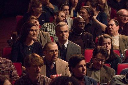 "RISE -- ""Opening Night"" Episode 110 -- Pictured: (l-r) Stephanie J. Block as Patricia Saunders, Stephen Plunkett as Robert Saunders, Margaret Rosiello as Emma Saunders -- (Photo by: Virginia Sherwood/NBC)"