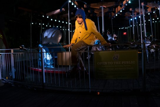 "BOSSS 2015 ulian Koster, who played a musical saw, starred in ""Night, Janitor, Carousel,"" set at the carousel at Pier 62. part of Big Outdoor Site-Specific Stuff, or BOSSS"