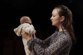 Amy Malloy with her baby, defaced by her father