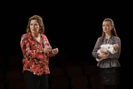 Andrea Irvine and Amy Malloy as flabbergasted wife and daughter
