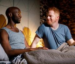 Phillip James Brannon and Jesse Tyler Ferguson in Log Cabin at Playwrights Horizons