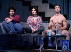 Eli Gelb, Idina Menzel and Will Brittain in Skintight at Laura Tells Theatre