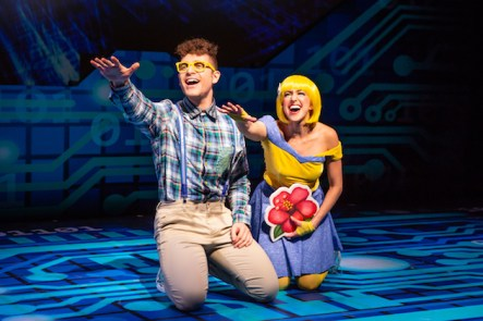 """Emojiland"" the musical. Photo: Jeremy Daniel Emojiland creative duo and co-stars Keith Harrison (Nerd Face) and Laura Nicole Harrison (Smiley Face.)"