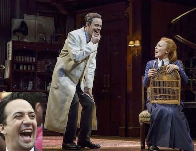 Lin-Manuel Miranda laughed during My Fair Lady, with Lauren Ambrose and Harry Hadden Paton. That started a confrontation during intermission.