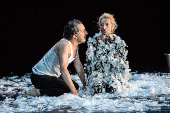 Guillaume Gallienne as the scheming Friedrich Bruckmann and Elsa Lepoivre as the ambitious widow Baronne Sophie Von Essenbeck in Ivo van Hove's The Damned, after Sophie's son as tar and feathered her.
