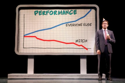 Mitchell Jarvis as Mitch getting canned as a stockbroker on his 40th birthday