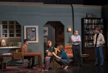 The cast of The Waverly Gallery: Lucas Hedges, Elaine May, Joan Allen, David Cromer, Michael Cera